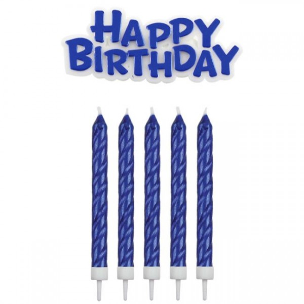 PME KERZEN & HAPPY BIRTHDAY BLAU PKG/17