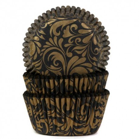 HOUSE OF MARIE BAKING CUPS BLACK/GOLD 50 Stück