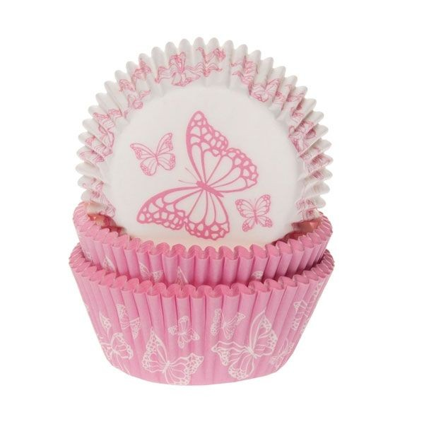 HOUSE OF MARIE BAKING CUPS BUTTERFLY PINK PK/50