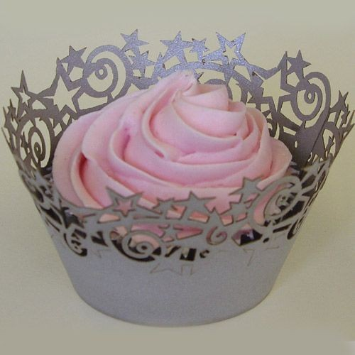 PME STARS CUPCAKE WRAPPERS SILVER 12 Stück