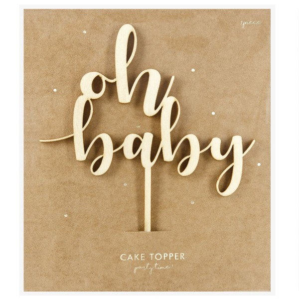 """PARTYDECO HOLZ CAKE TOPPER """"OH BABY"""""""