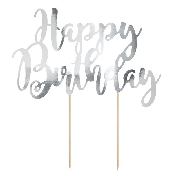 PARTYDECO CAKE TOPPER HAPPY BIRTHDAY - SILBER
