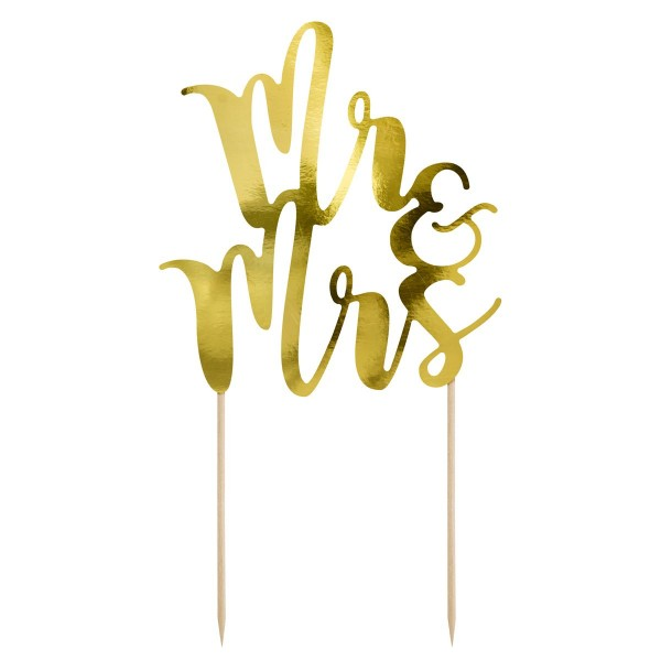 PARTYDECO CAKE TOPPER MR & MRS - GOLD