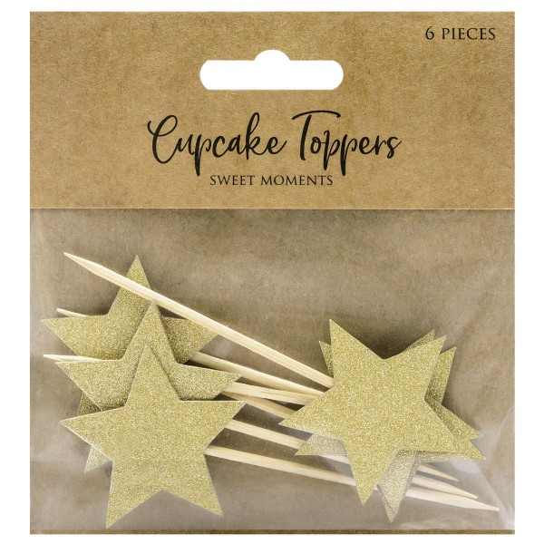 PARTYDECO CUPCAKE TOPPER STERNE - GOLD 6-TEILIG